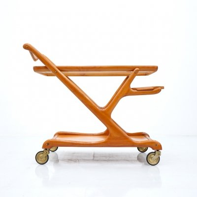 Cesasre Lacca Bar Cart in Cherry Wood & Glass, 1950s
