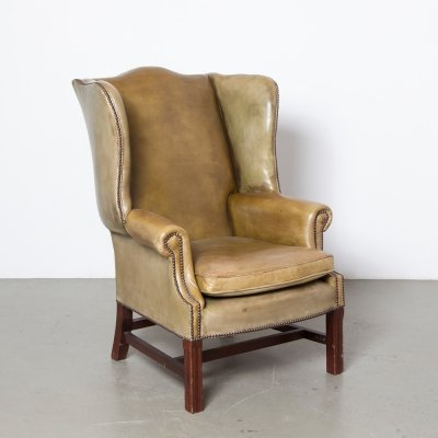 Classic Wingback Armchair in green leather