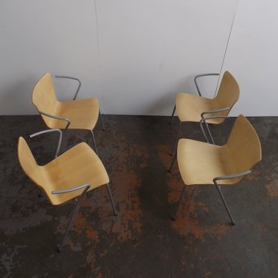 Set of 4 Vico Duo VM 111 dining chairs by Vico Magistretti for Fritz Hansen, 1990s