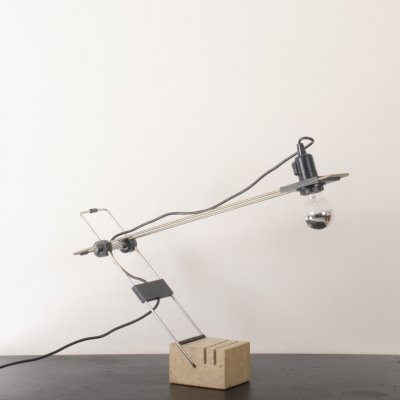 Adjustable 1970's desk lamp with Travertine base by Fratelli Manelli, Florence Italy