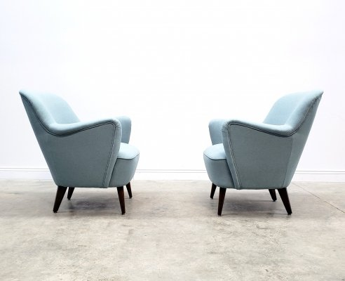 Pair of Mid Century Armchairs in Pastel Blue Upholstery, 1950's