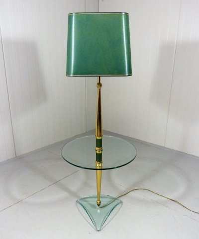 Italian floor lamp with glass side table, 1970's