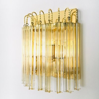 Hollywood Regency Style Glass & Brass Wall Lamp by Massive, 1980's