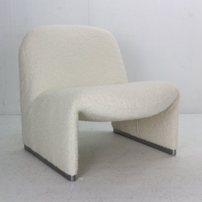 Giancarlo Piretti 'Alky' Lounge Chair in Bouclé Fabric for Castelli, Italy 1970s