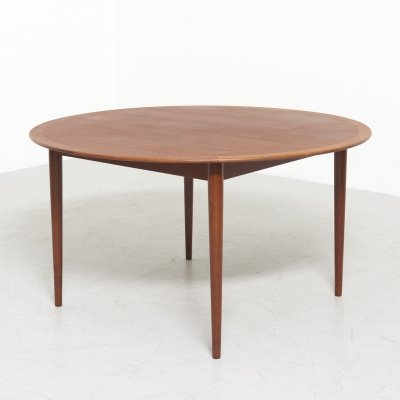 Large Round Dining Table by Grete Jalk for Poul Jeppesen, Denmark 1950's