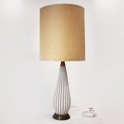 Striped Ceramic Table Lamp with Teak Accents, 1970s