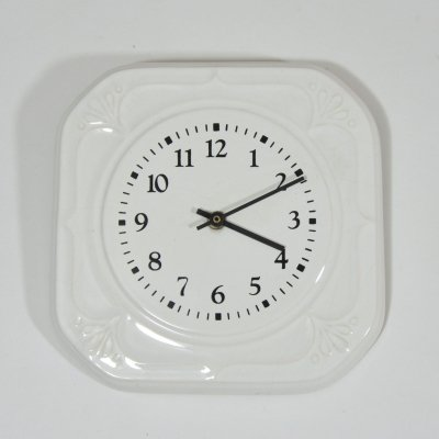 White porcelaine wall clock, 1980s