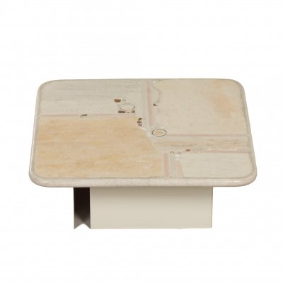 White Natural Stone Coffee Table by Paul Kingma, 1980s