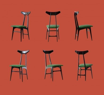 Set of 6 Italian Green Suede Leather Dining Chairs, 1950s