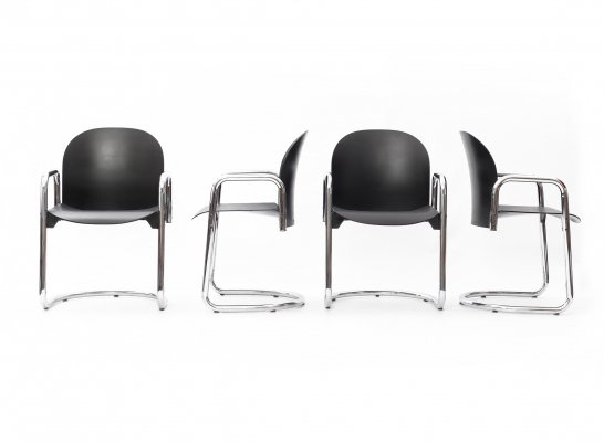 Set of 4 Dialogo chairs by Afra & Tobia Scarpa for B&B Italia, 1980s