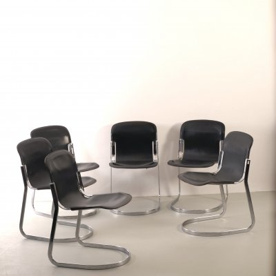 6 Leather Willy Rizzo C2 chairs for Cidue, 1970s