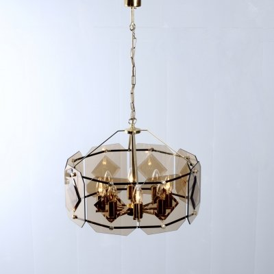 Smoked glass chandelier pendant lamp by Luigi Colani for Sische, 1970s