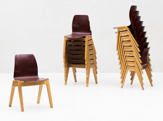 77 stackable dining chairs by Adam Stegner for Pagholz Flötotto