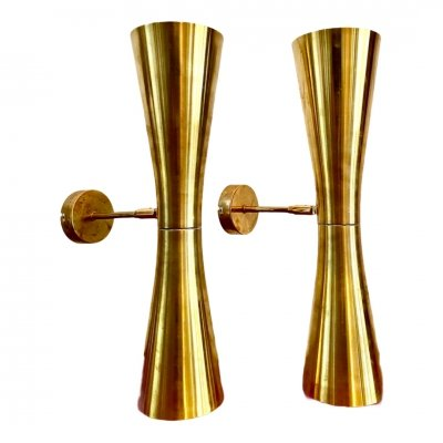 Set of Brass Wall Lamps, 1950s