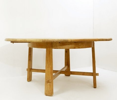Extendable Round Dining Table In Solid Wood, 1970s
