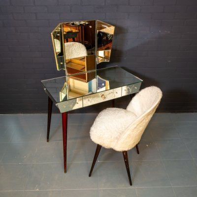 Large vintage dressing table with mirrored Venetian glass & chair