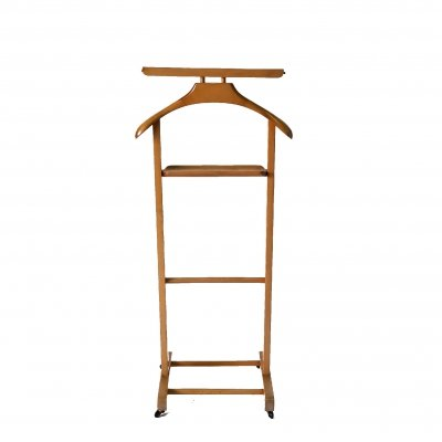 Italian wood valet stand on casters, Italy 1960s