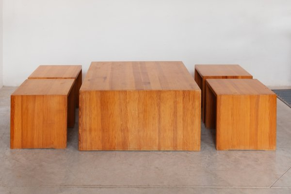 Set of 4 Solid Pine Stools & 1 Coffee Table, 1970s