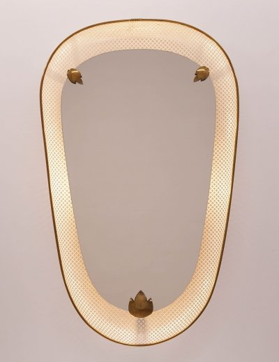 Mid-Century Illuminated Mirror with Perforated Frame, 1950s
