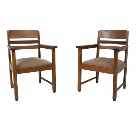 Set of Amsterdam School Arm Chairs, The Netherlands 1930s
