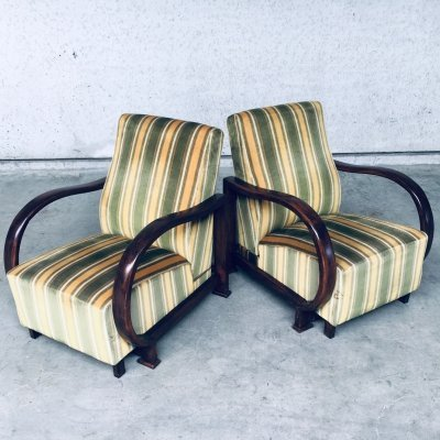 Pair of Art Deco Reclining Bentwood Armchair Lounge Chairs, 1930's