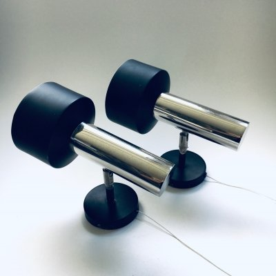 Pair of Chrome & Black Wall Spot Lamps, Germany 1960's