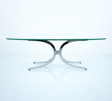 Large Oval Glass Coffee Table with Chrome Base, 1970s