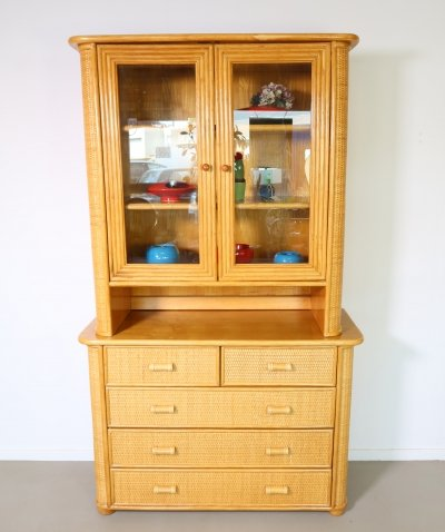 Bamboo cabinet with wicker finish, display top & 5 drawers