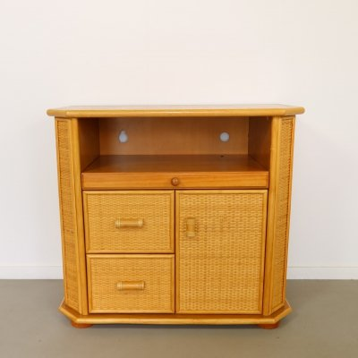 Bamboo cabinet with wicker finish & pull-out shelf, 1970s