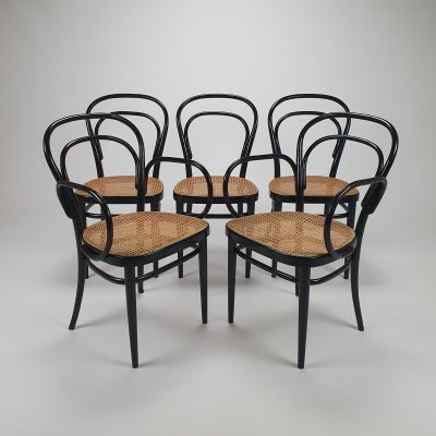 Set of 5 Mid Century Thonet bentwood & cane dining chairs, 1960s