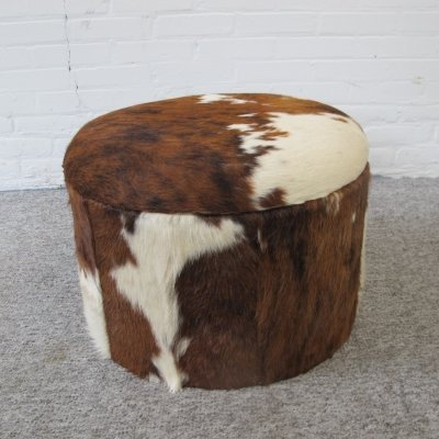 Vintage red brown leather cowhide footstool pouf, 80s