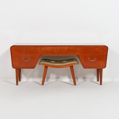 Swedish Modern low board/sideboard with a stool, 1950's