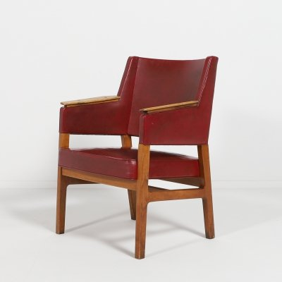 Architectural Danish Modern armchair by Kay Fisker, 1950's