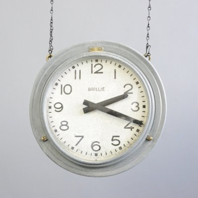 Double Sided Zinc Station Clock by Brillie, Circa 1920s