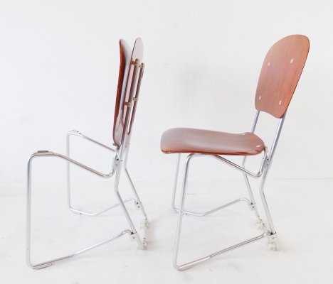 Aluflex stacking chairs by Armin Wirth for Ph. Zieringer KG, 1950s