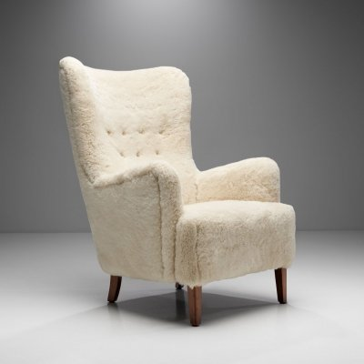 High Back Easy Chair in Sheepskin with Stained Beech Legs, Scandinavia 1950s