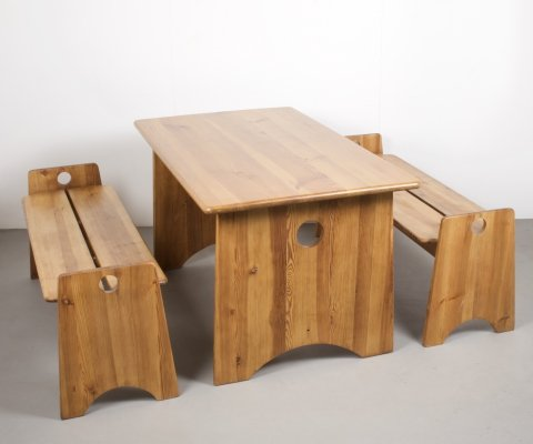 Solid Pine Dining set (Table & Two Benches) by Gilbert Marklund, Sweden 1960s