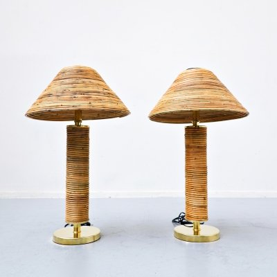 Pair of Italian brass & bamboo table lamps