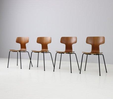 Set of 4 '3103 / T chairs' by Arne Jacobsen for Fritz Hansen, 1964