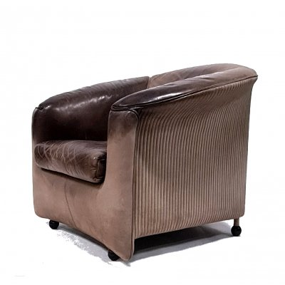 Patinated leather arm chair by Paolo Piva for Wittmann, Austria 1980s