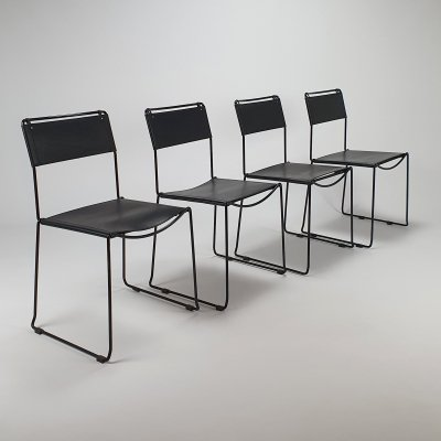 Set of 4 black Italian saddle leather dining chairs by G. Belotti for Fly Line