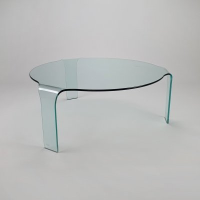 Italian Curved Glass Coffee Table by Fiam Italy, 1980s
