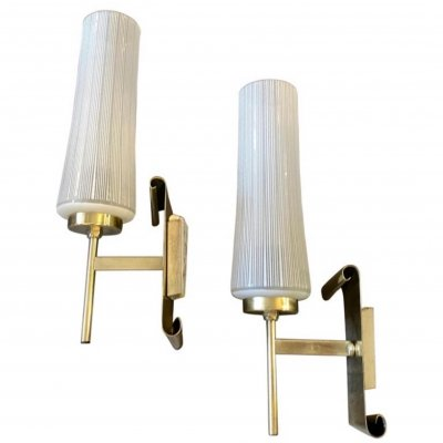 1950s Mid-Century Modern set of Two Brass & Glass Italian Wall Sconces