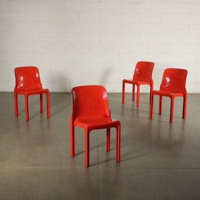 Set of 4 Selene Chairs by Vico Magistretti for Artemide, 1970s