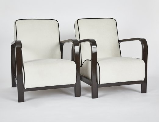 Pair of Hungarian Art Deco Armchairs, 1940s