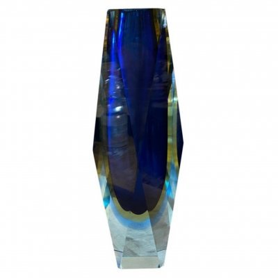 1970s Sommerso Faceted Blue Murano Glass by Seguso