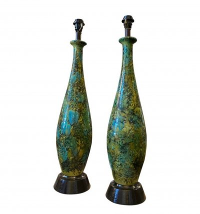 1970s set of two Lava Blue Green & Black Ceramic Huge Table Lamps