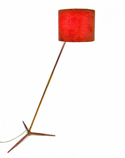 Mid century adjustable copper plated floor lamp, Italy 1950s