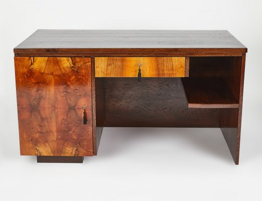 Rare Art Deco Office Desk with drawers by Jindrich Halabala for UP Závody, 1930s