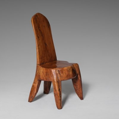 Carved wooden tree trunk chair, 1970s